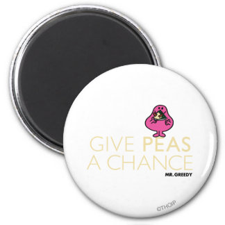 Mr. Greedy | Give Peas A Chance 2 Inch Round Magnet