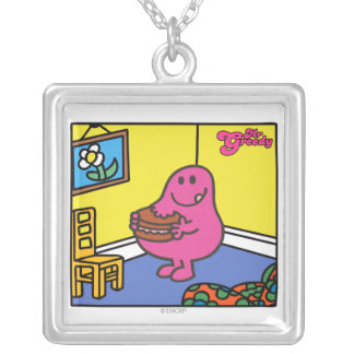 Mr. Greedy | Living Room Eating Square Pendant Necklace
