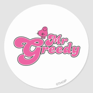 Mr. Greedy | Pink Lettering Classic Round Sticker