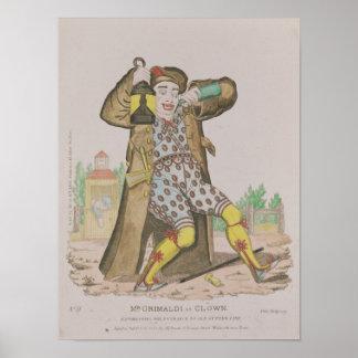 Mr Grimaldi as Clown, illuminating the Poster