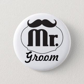 Mr. Groom Black Hipster Mustache Pinback Button