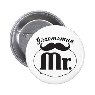 Mr. Groom Mustache 2 Inch Round Button