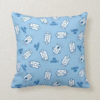 Mr Grumpy | Blue Emotion Toss Pattern Throw Pillow