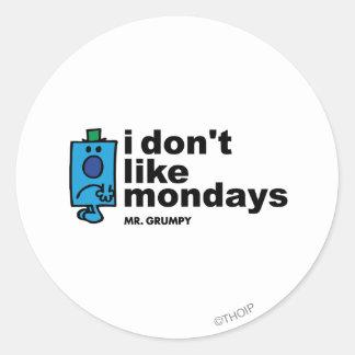 Mr. Grumpy Does Not Like Monday Classic Round Sticker
