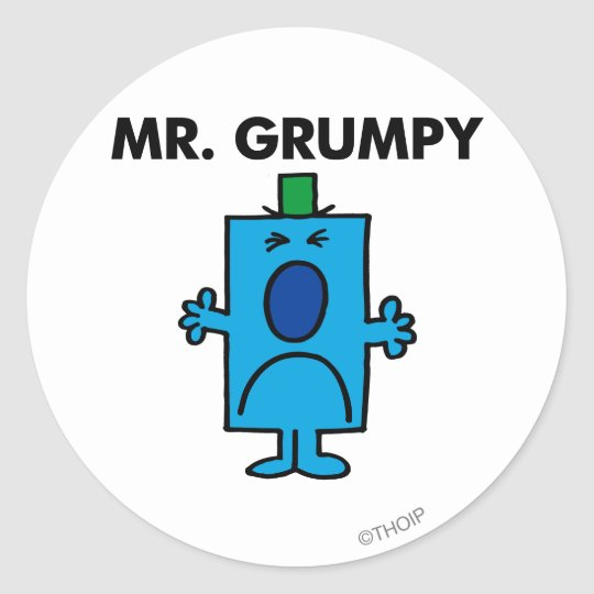 Mr. Grumpy   Frowning Face Classic Round Sticker