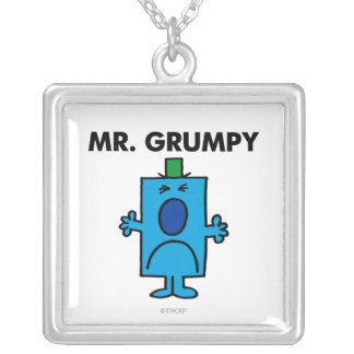Mr. Grumpy | Frowning Face Square Pendant Necklace