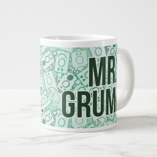 Mr Grumpy | Green Name and Character Toss Pattern Large Coffee Mug