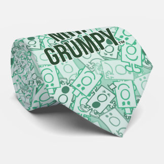 Mr Grumpy | Green Name and Character Toss Pattern Neck Tie