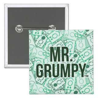 Mr Grumpy | Green Name and Character Toss Pattern Pinback Button