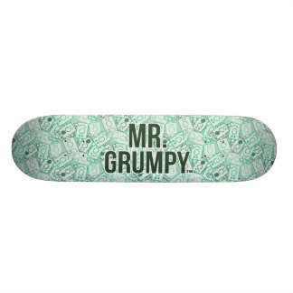 Mr Grumpy | Green Name and Character Toss Pattern Skateboard Deck