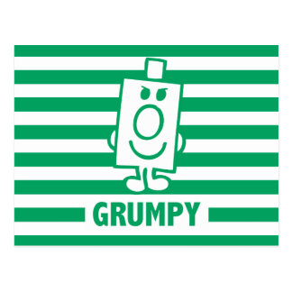 Mr Grumpy | Mischievous Grin and Green Stripes Postcard