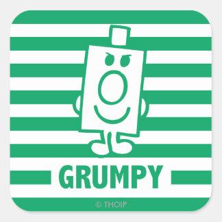 Mr Grumpy | Mischievous Grin and Green Stripes Square Sticker