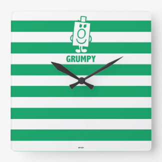 Mr Grumpy | Mischievous Grin and Green Stripes Square Wall Clock
