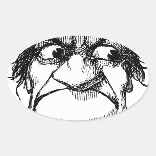 Mr Grumpyhead Oval Sticker