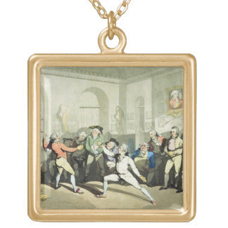 Mr H Angelo's Fencing Academy, engraved by Charles Gold Plated Necklace