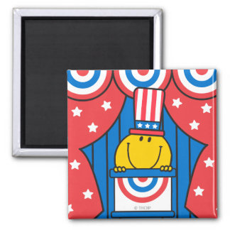 Mr. Happy at the Podium 2 Inch Square Magnet