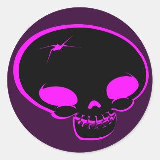 Mr Happy Bones Pink/black Classic Round Sticker