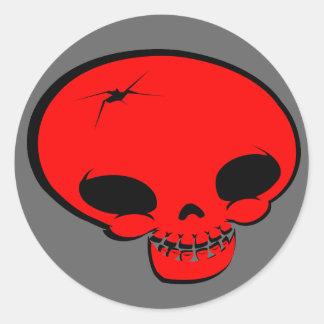 Mr Happy Bones Red Classic Round Sticker