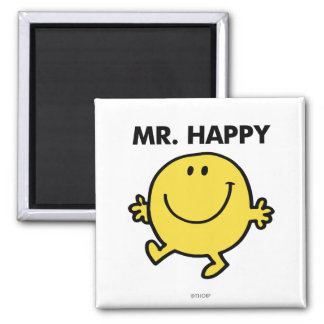 Mr. Happy | Dancing & Smiling 2 Inch Square Magnet