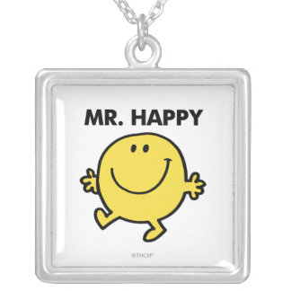 Mr. Happy | Dancing & Smiling Square Pendant Necklace