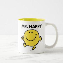 Mr. Happy   Dancing & Smiling Two-Tone Coffee Mug