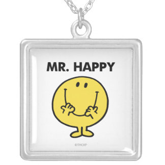 Mr. Happy | Giant Smiley Face Square Pendant Necklace