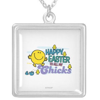 Mr. Happy | Happy Easter To All My Chicks Square Pendant Necklace