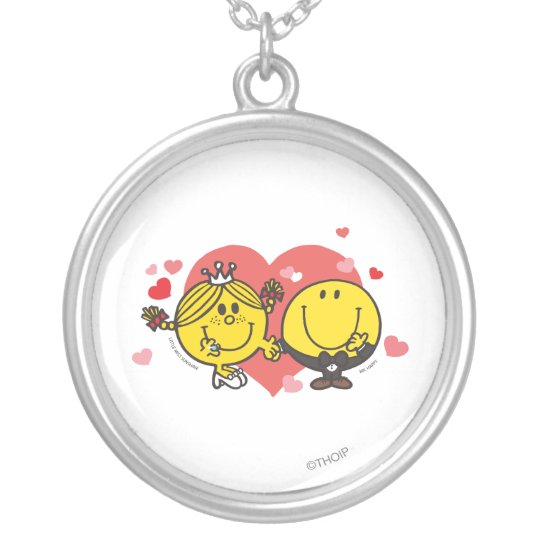Mr. Happy & Little Miss Sunshine Wedding Silver Plated Necklace