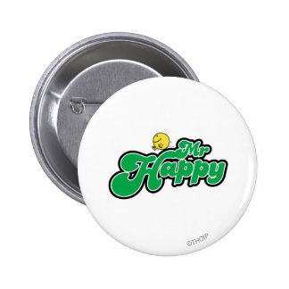 Mr. Happy Sliding Down Green Lettering Button