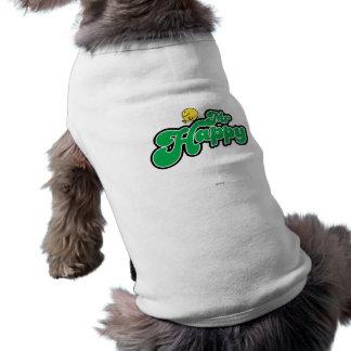 Mr. Happy Sliding Down Green Lettering Doggie Tshirt