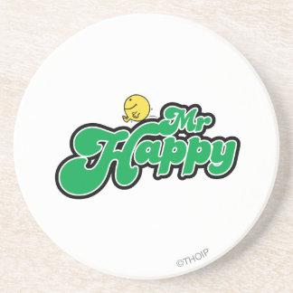 Mr. Happy Sliding Down Green Lettering Drink Coaster