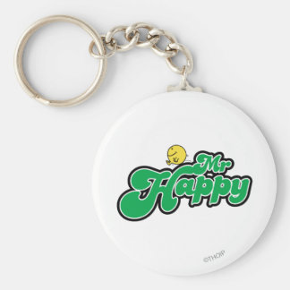 Mr. Happy Sliding Down Green Lettering Keychain