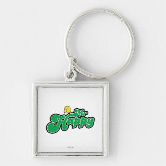 Mr. Happy Sliding Down Green Lettering Keychain
