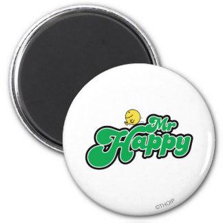 Mr. Happy Sliding Down Green Lettering Magnet