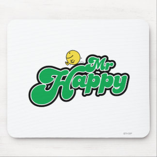 Mr. Happy Sliding Down Green Lettering Mouse Pad