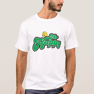 Mr. Happy Sliding Down Green Lettering T-Shirt