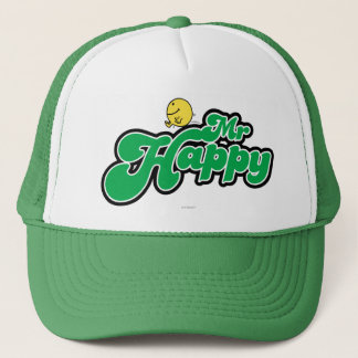 Mr. Happy Sliding Down Green Lettering Trucker Hat