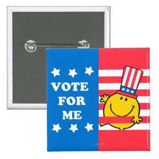Mr. Happy Vote For Me Flag Pinback Button