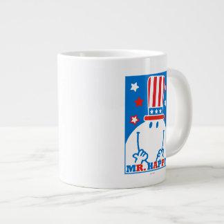 Mr. Happy With Patriotic Hat Large Coffee Mug