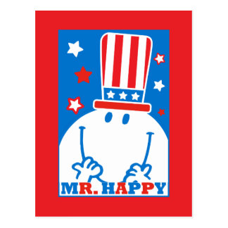 Mr. Happy With Patriotic Hat Postcard