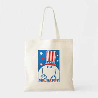 Mr. Happy With Patriotic Hat Tote Bag