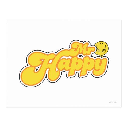 Mr. Happy | Yellow Lettering Postcard