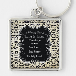 Mr. Hipster Mustache 7 Words Happy Marriage Keychain