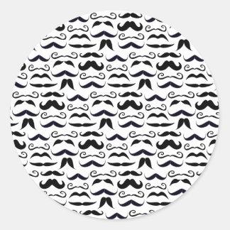 Mr. Hipster Mustache Vintage Retro Classic Round Sticker