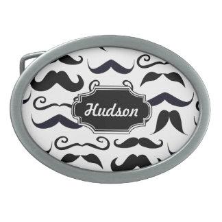 Mr. Hipster Mustache Vintage Retro Oval Belt Buckle