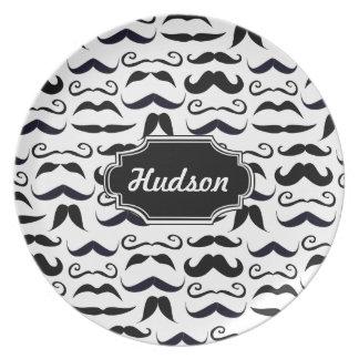 Mr. Hipster Mustache Vintage Retro Plate