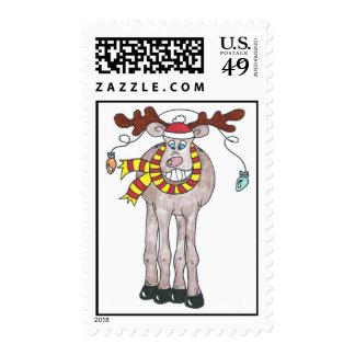 Mr. Holiday Moose Postage Stamp