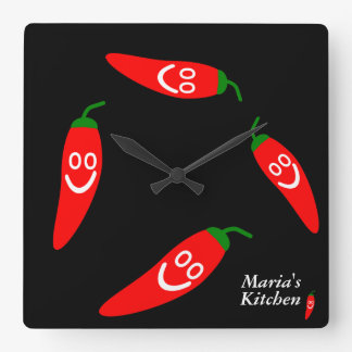 Mr. Hot Pepper - Personalized Kitchen Square Wall Clock