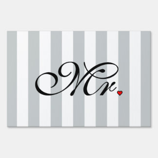Mr. Husband Groom Click to Customize Color Stripes Lawn Sign