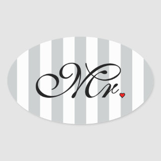 Mr. Husband Groom Click to Customize Color Stripes Oval Sticker